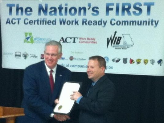 Missouri Governor Jay Nixon presented Jones with an official proclamation as America's first-ever Certified Work Ready Community in 2013.