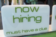 A now hiring sign.
