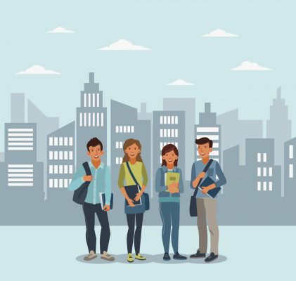 illustration of 4 young adults with a cityscape background