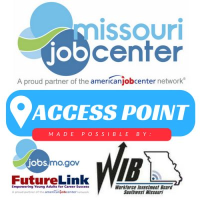 Logos for Missouri Job Center, Access Point, Future Link, Workforce Investment Board Southwest Missouri
