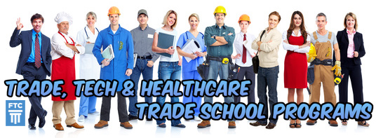 Photograph of a group of tradespeople. Trade, tech and healthcare trade school programs